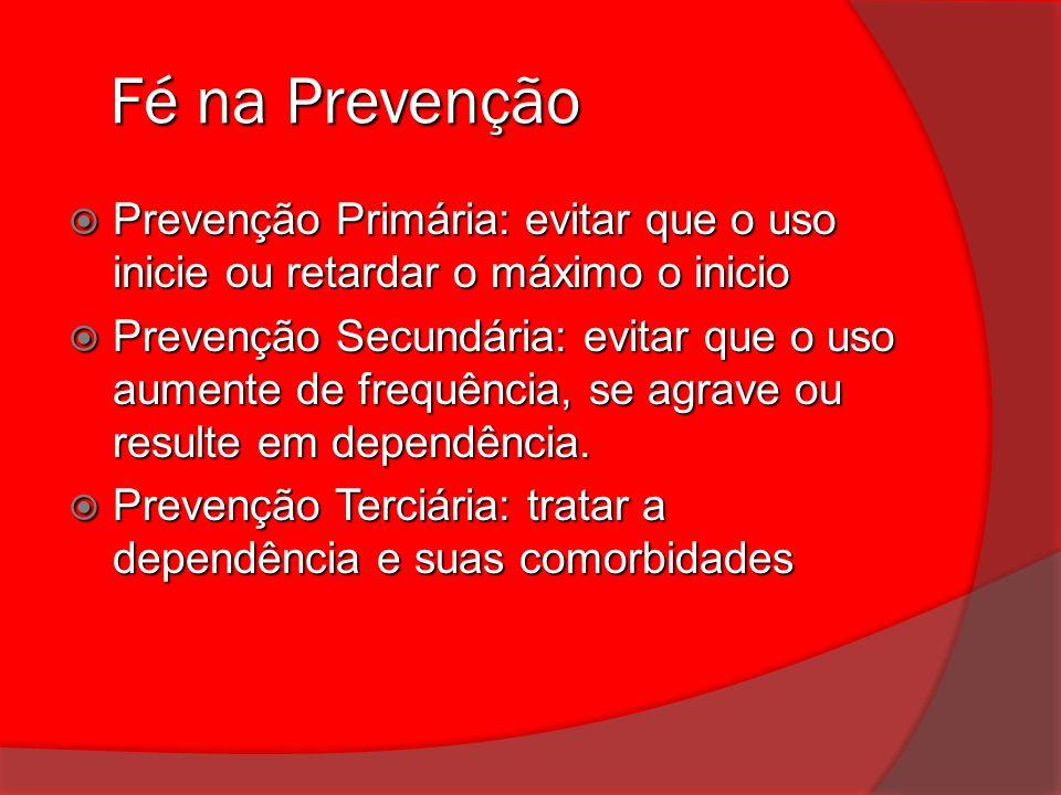 Fé na Prevenção Prevenção Primária: evitar que o uso inicie ou retardar o máximo o inicio.