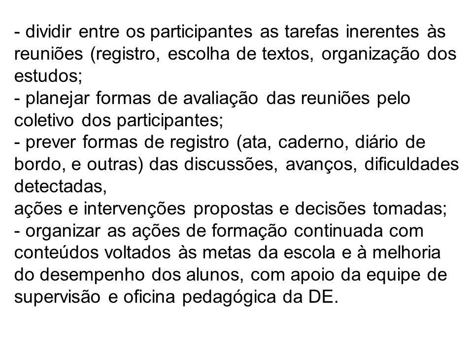 - dividir entre os participantes as tarefas inerentes às reuniões (registro, escolha de textos, organização dos estudos;