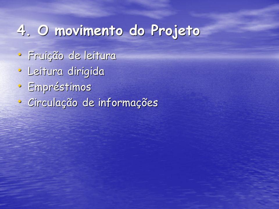 4. O movimento do Projeto Fruição de leitura Leitura dirigida