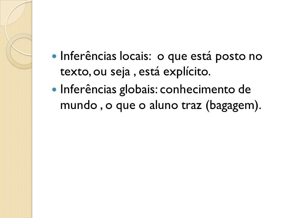 Inferências locais: o que está posto no texto, ou seja , está explícito.