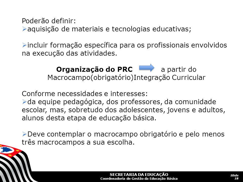 Poderão definir: aquisição de materiais e tecnologias educativas;
