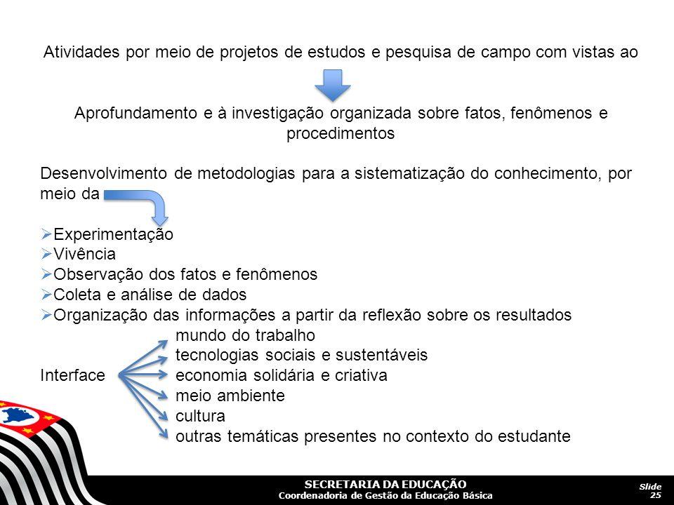 Atividades por meio de projetos de estudos e pesquisa de campo com vistas ao