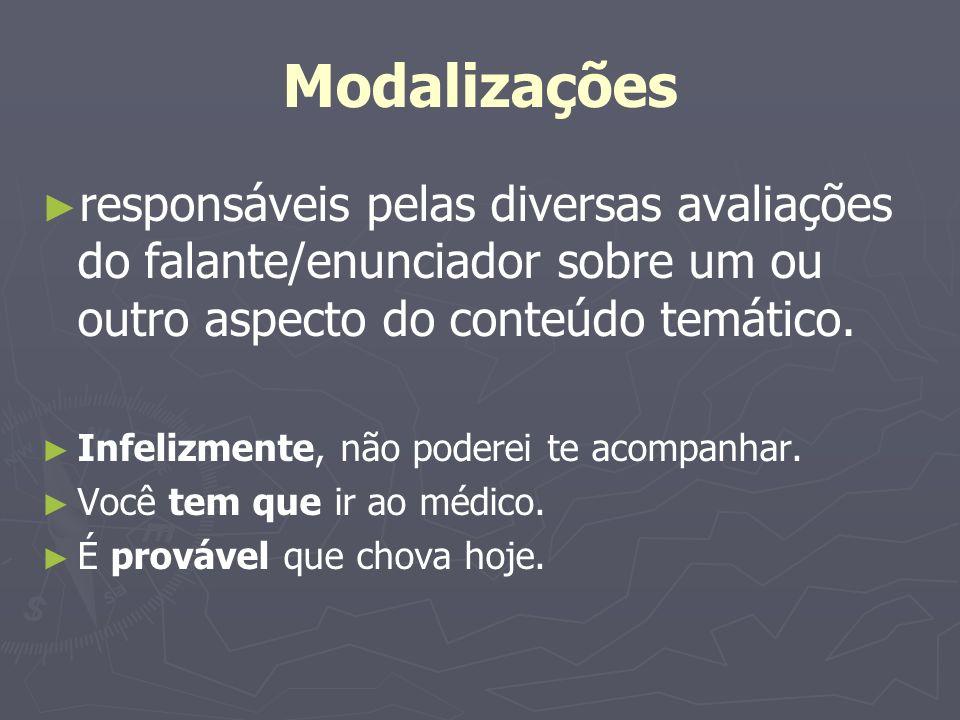 Modalizações responsáveis pelas diversas avaliações do falante/enunciador sobre um ou outro aspecto do conteúdo temático.
