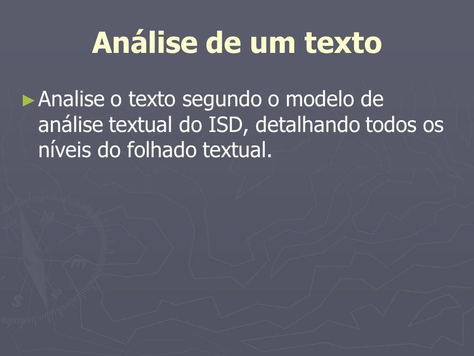 Análise de um texto Analise o texto segundo o modelo de análise textual do ISD, detalhando todos os níveis do folhado textual.