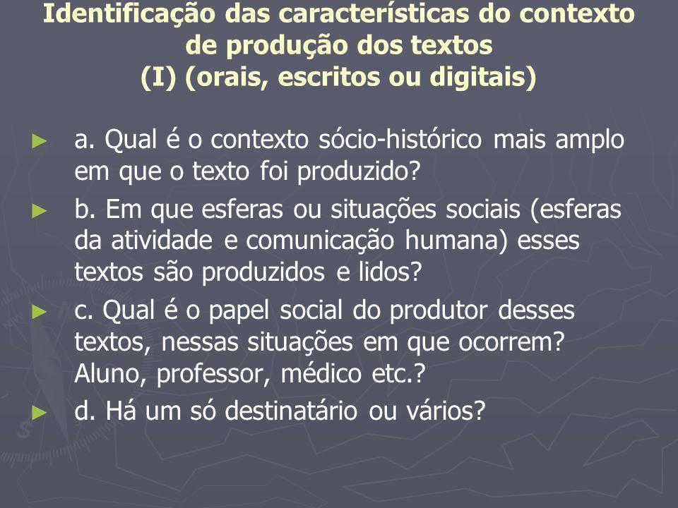 Identificação das características do contexto de produção dos textos (I) (orais, escritos ou digitais)