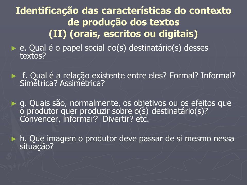 Identificação das características do contexto de produção dos textos (II) (orais, escritos ou digitais)
