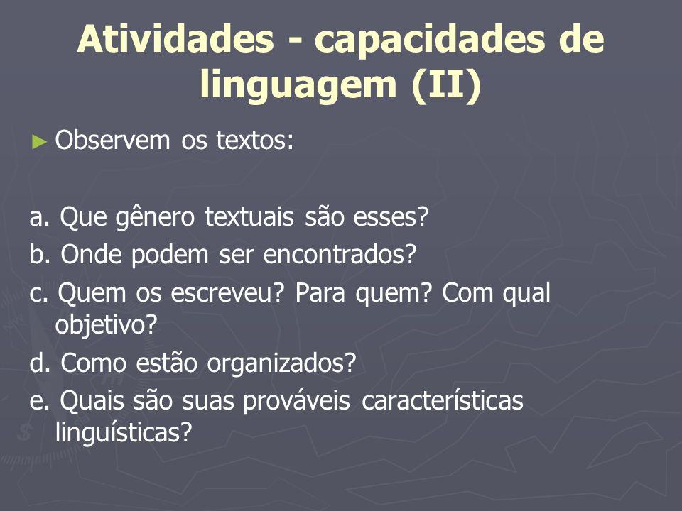 Atividades - capacidades de linguagem (II)
