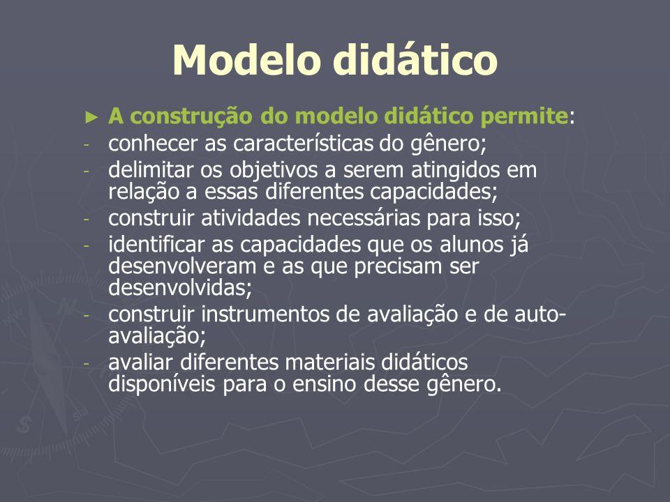 Modelo didático A construção do modelo didático permite: