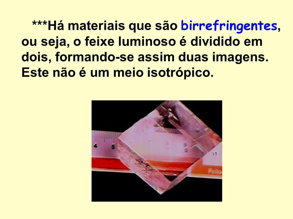 ***Há materiais que são birrefringentes, ou seja, o feixe luminoso é dividido em dois, formando-se assim duas imagens.