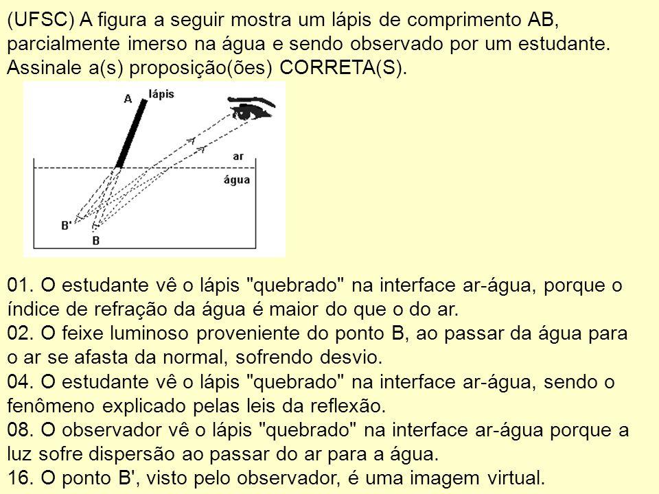 (UFSC) A figura a seguir mostra um lápis de comprimento AB, parcialmente imerso na água e sendo observado por um estudante. Assinale a(s) proposição(ões) CORRETA(S).