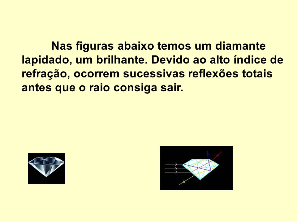 Nas figuras abaixo temos um diamante lapidado, um brilhante
