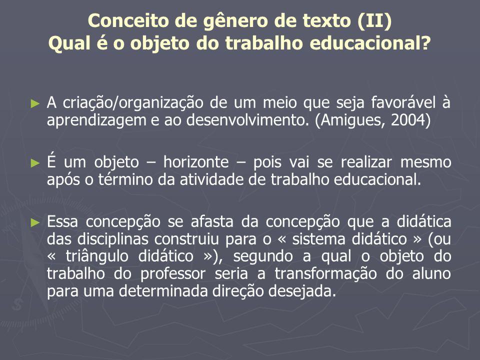 Conceito de gênero de texto (II) Qual é o objeto do trabalho educacional
