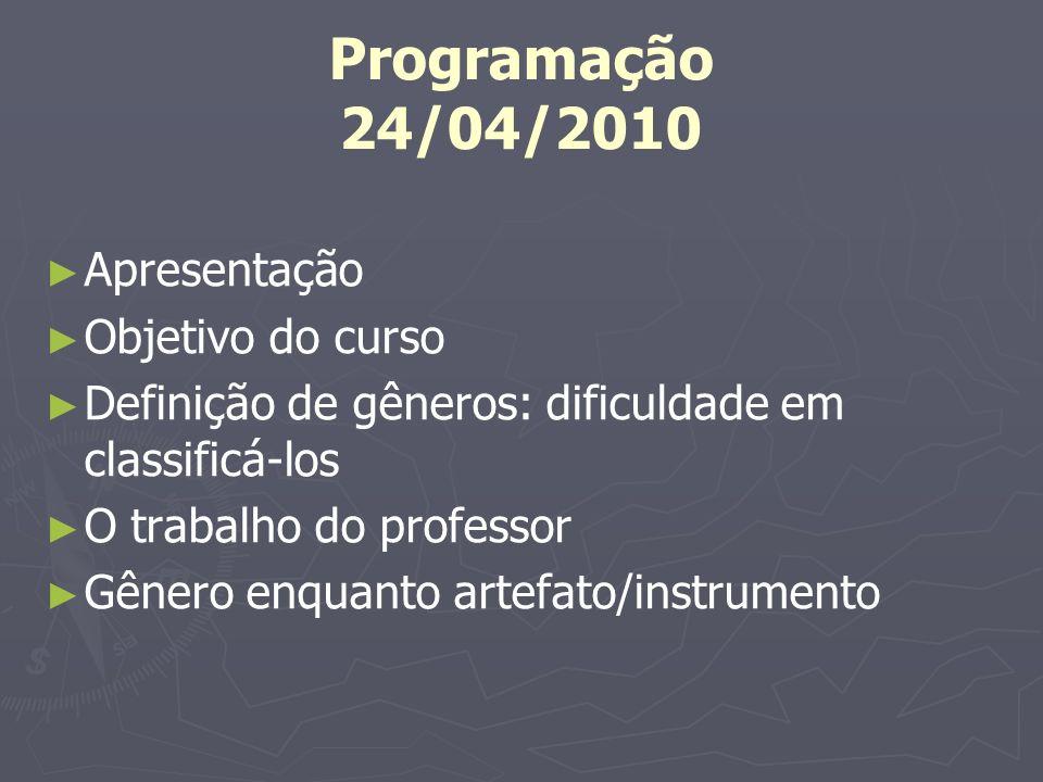 Programação 24/04/2010 Apresentação Objetivo do curso