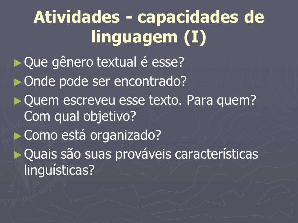 Atividades - capacidades de linguagem (I)