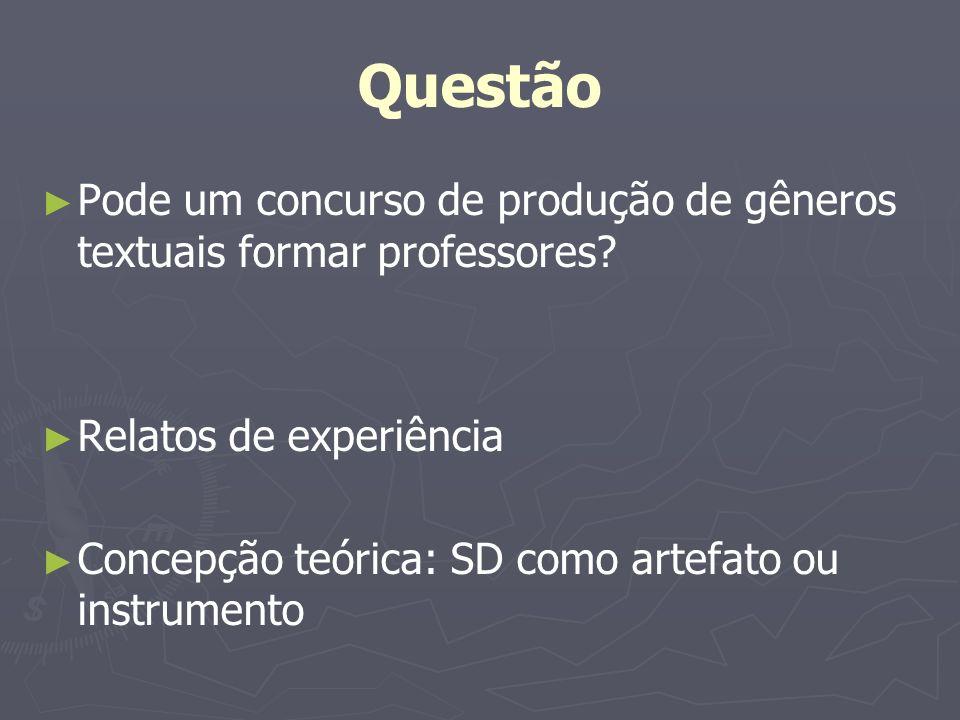 Questão Pode um concurso de produção de gêneros textuais formar professores Relatos de experiência.