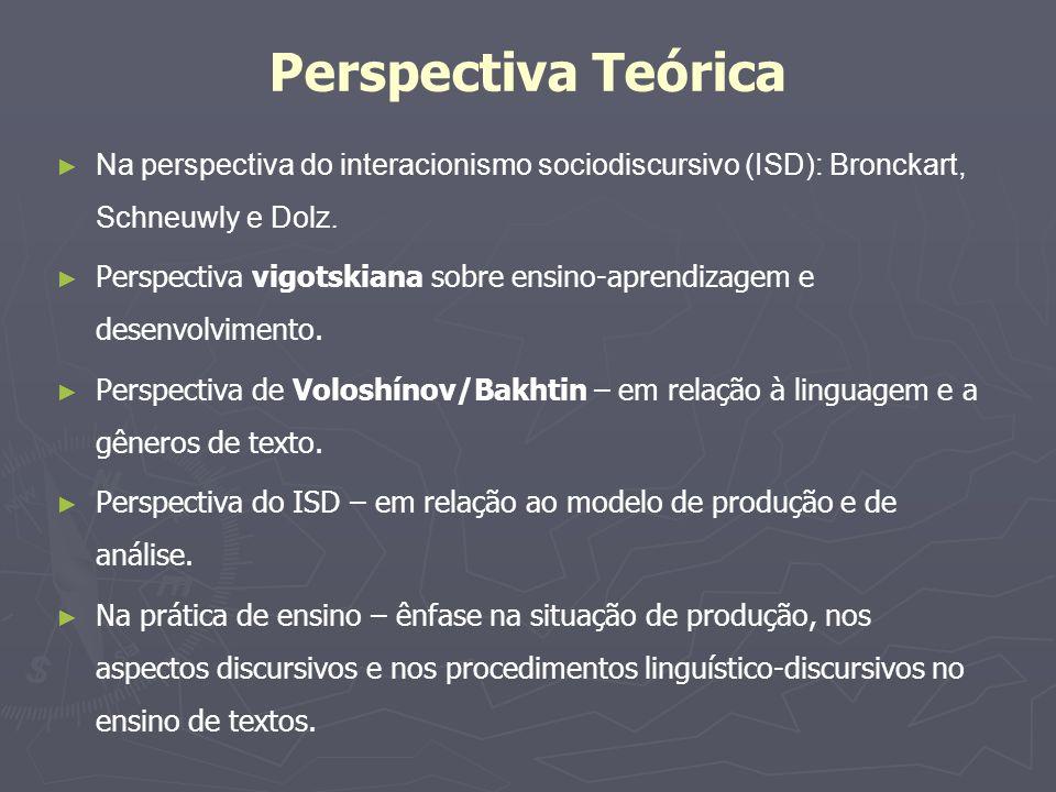 Perspectiva Teórica Na perspectiva do interacionismo sociodiscursivo (ISD): Bronckart, Schneuwly e Dolz.