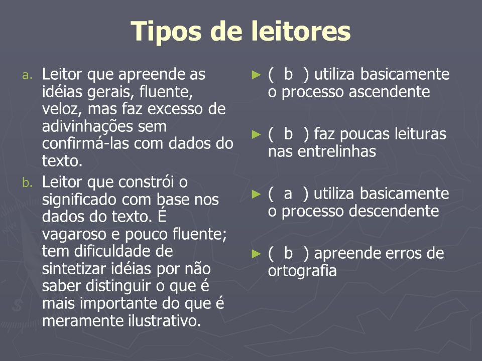 Tipos de leitoresLeitor que apreende as idéias gerais, fluente, veloz, mas faz excesso de adivinhações sem confirmá-las com dados do texto.