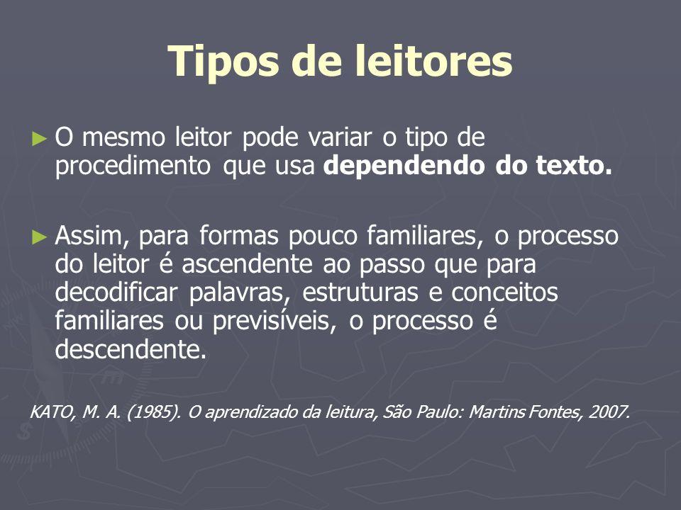 Tipos de leitores O mesmo leitor pode variar o tipo de procedimento que usa dependendo do texto.