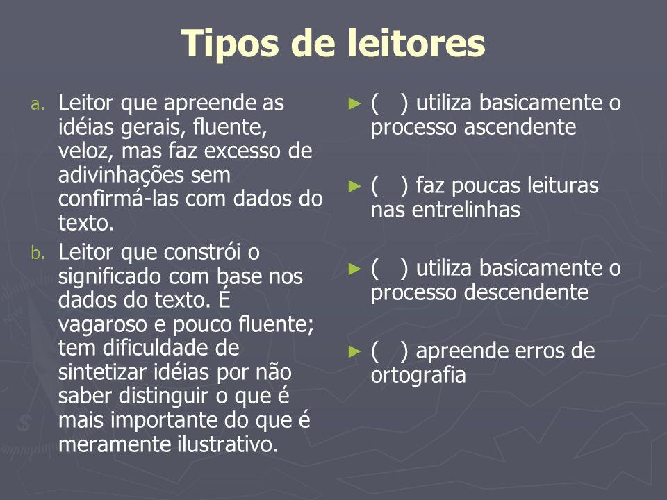 Tipos de leitores Leitor que apreende as idéias gerais, fluente, veloz, mas faz excesso de adivinhações sem confirmá-las com dados do texto.