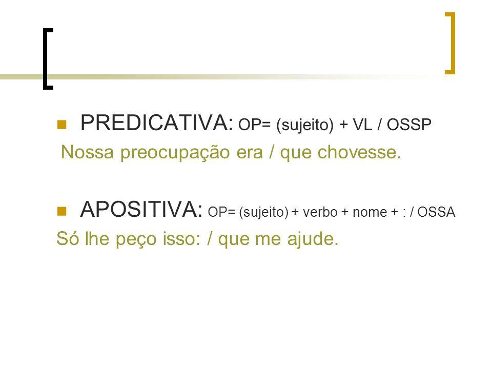 PREDICATIVA: OP= (sujeito) + VL / OSSP