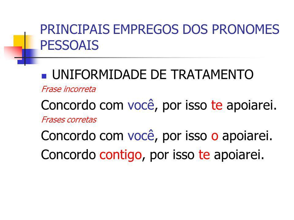 PRINCIPAIS EMPREGOS DOS PRONOMES PESSOAIS