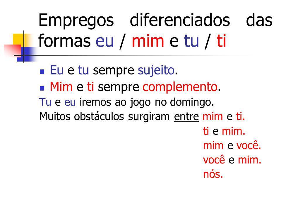 Empregos diferenciados das formas eu / mim e tu / ti