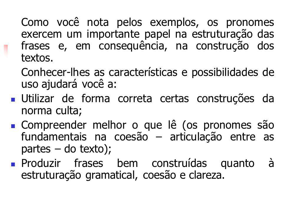 Como você nota pelos exemplos, os pronomes exercem um importante papel na estruturação das frases e, em consequência, na construção dos textos.