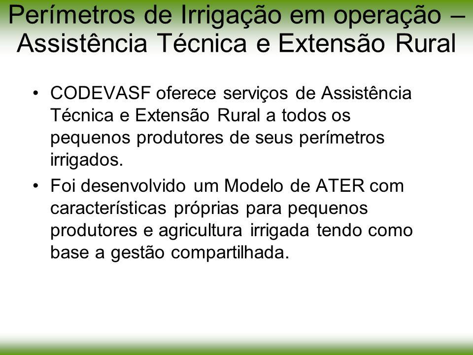 Perímetros de Irrigação em operação – Assistência Técnica e Extensão Rural