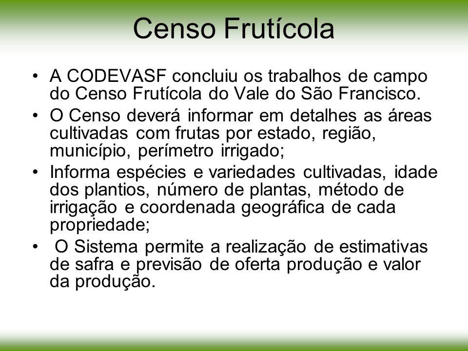 Censo Frutícola A CODEVASF concluiu os trabalhos de campo do Censo Frutícola do Vale do São Francisco.