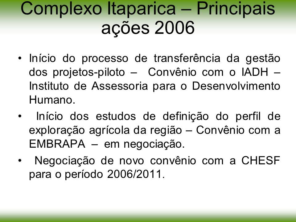 Complexo Itaparica – Principais ações 2006