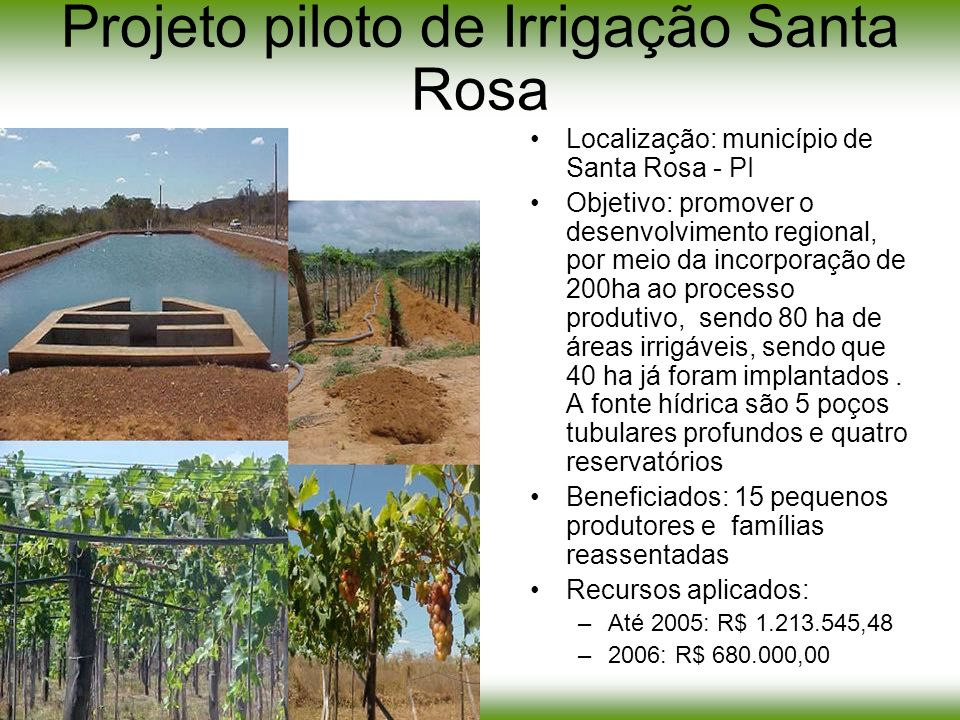 Projeto piloto de Irrigação Santa Rosa