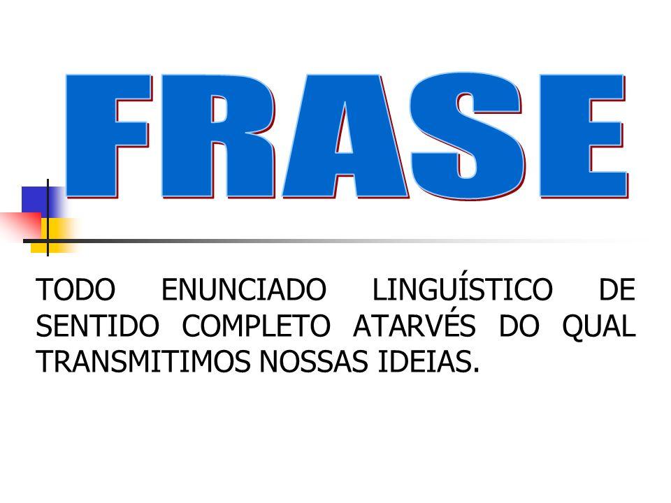 FRASE TODO ENUNCIADO LINGUÍSTICO DE SENTIDO COMPLETO ATARVÉS DO QUAL TRANSMITIMOS NOSSAS IDEIAS.