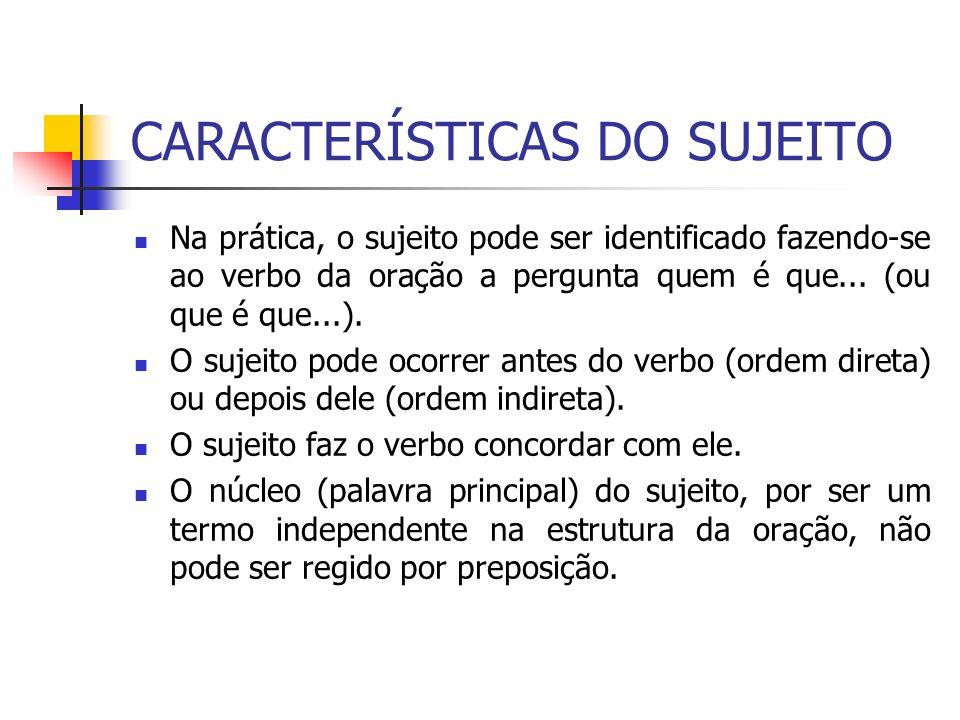 CARACTERÍSTICAS DO SUJEITO