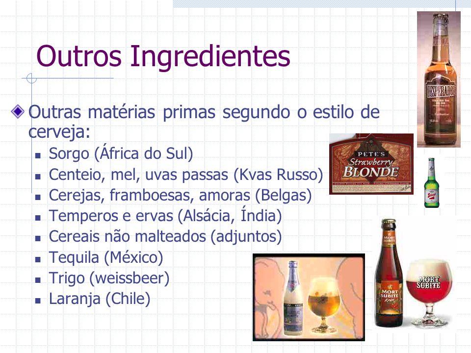 Outros Ingredientes Outras matérias primas segundo o estilo de cerveja: Sorgo (África do Sul) Centeio, mel, uvas passas (Kvas Russo)