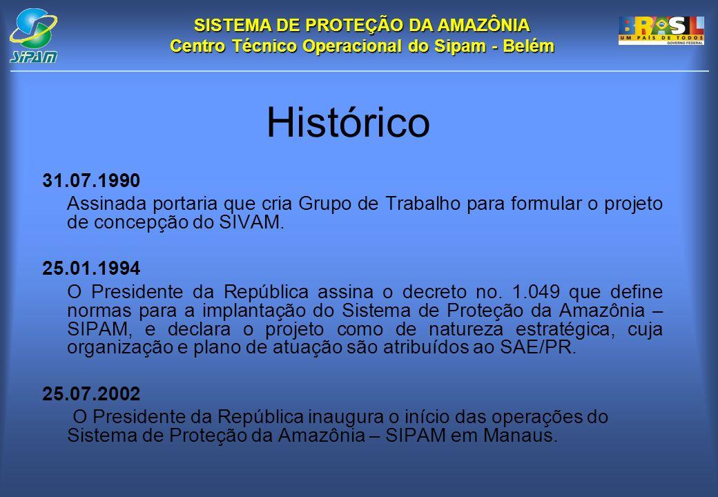 Histórico 31.07.1990. Assinada portaria que cria Grupo de Trabalho para formular o projeto de concepção do SIVAM.