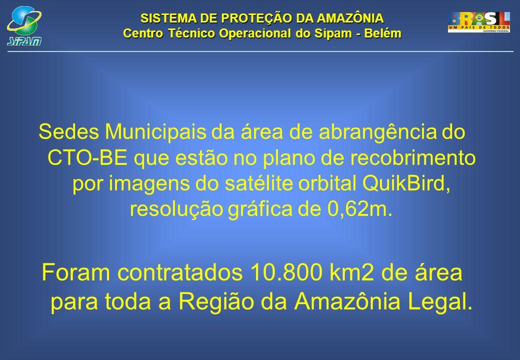 Sedes Municipais da área de abrangência do CTO-BE que estão no plano de recobrimento por imagens do satélite orbital QuikBird, resolução gráfica de 0,62m.