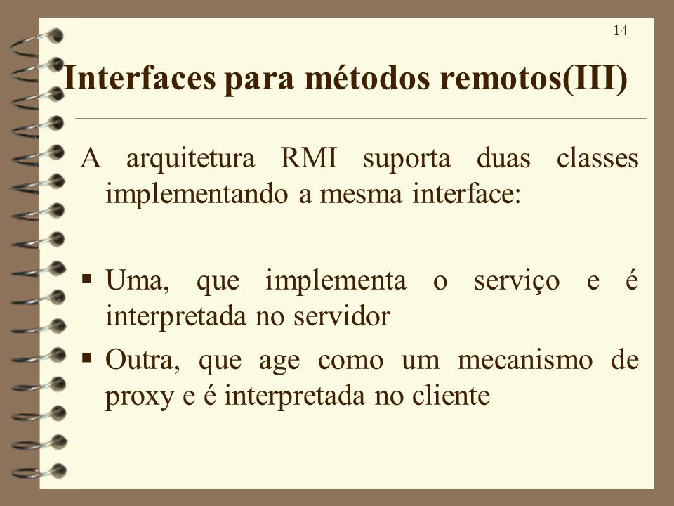 Interfaces para métodos remotos(III)
