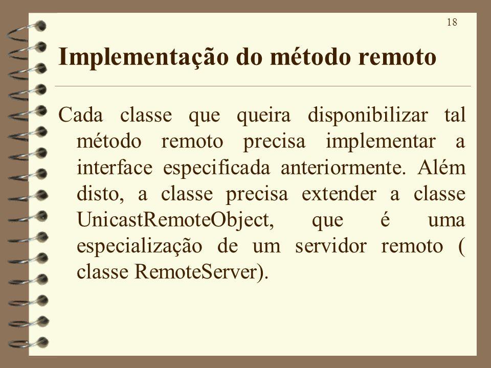 Implementação do método remoto