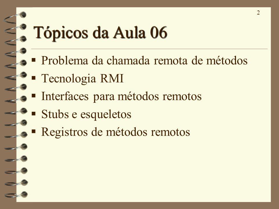 Tópicos da Aula 06 Problema da chamada remota de métodos