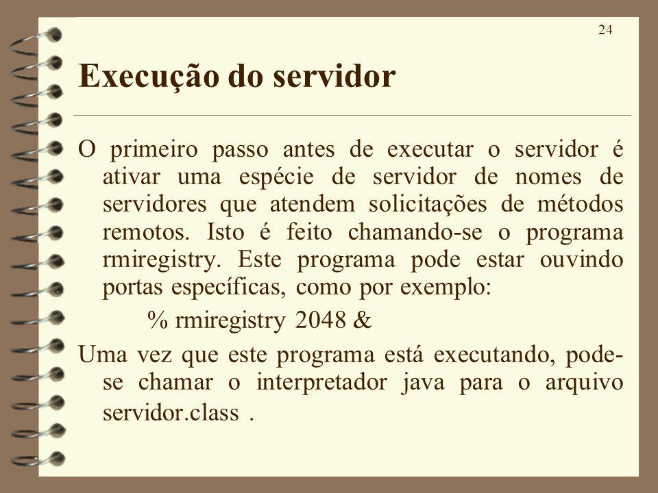 Execução do servidor
