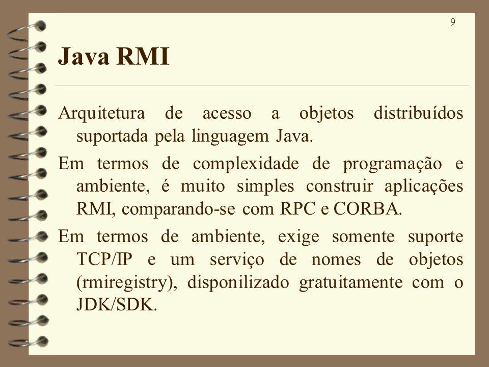 Java RMI Arquitetura de acesso a objetos distribuídos suportada pela linguagem Java.