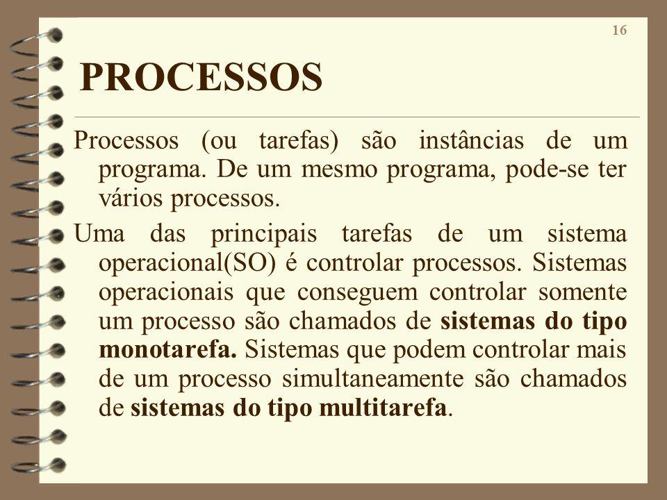 PROCESSOS Processos (ou tarefas) são instâncias de um programa. De um mesmo programa, pode-se ter vários processos.