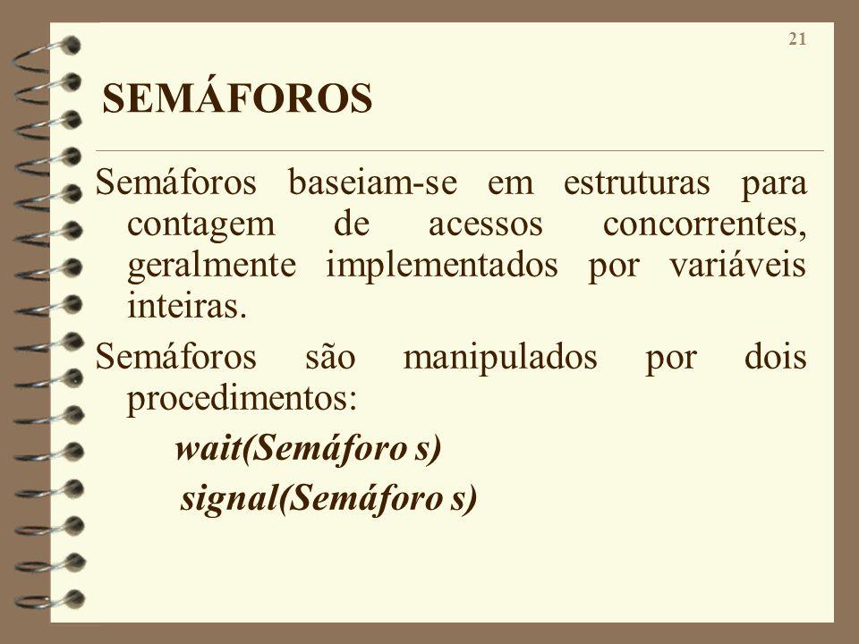 SEMÁFOROS Semáforos baseiam-se em estruturas para contagem de acessos concorrentes, geralmente implementados por variáveis inteiras.