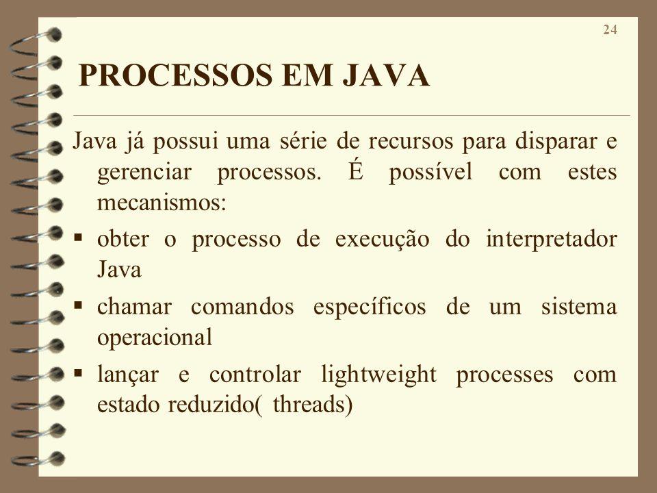PROCESSOS EM JAVA Java já possui uma série de recursos para disparar e gerenciar processos. É possível com estes mecanismos: