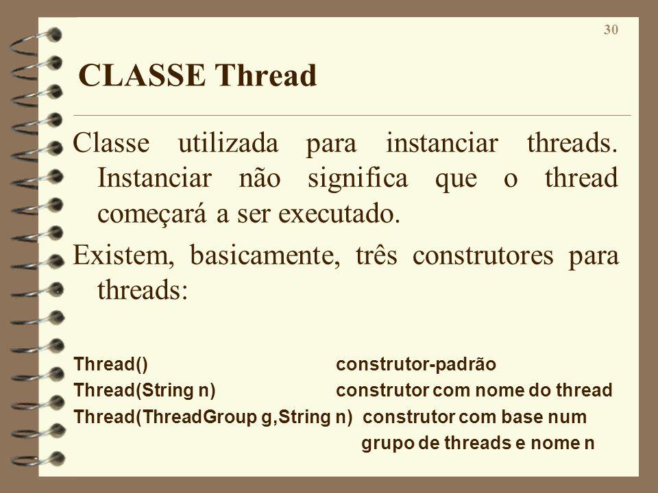 CLASSE Thread Classe utilizada para instanciar threads. Instanciar não significa que o thread começará a ser executado.
