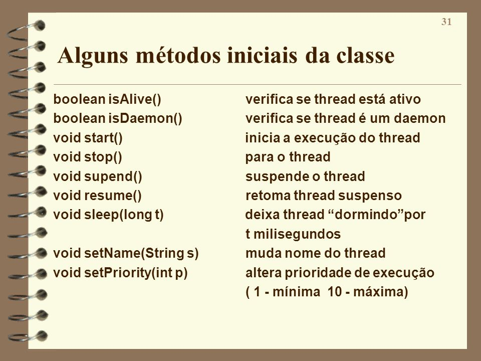 Alguns métodos iniciais da classe