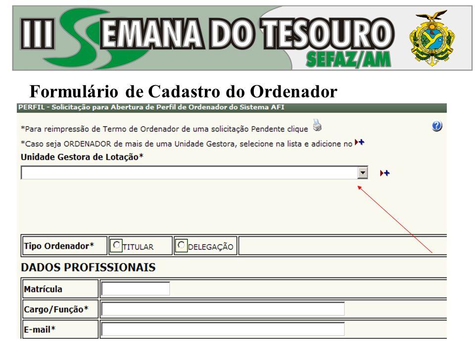 Formulário de Cadastro do Ordenador