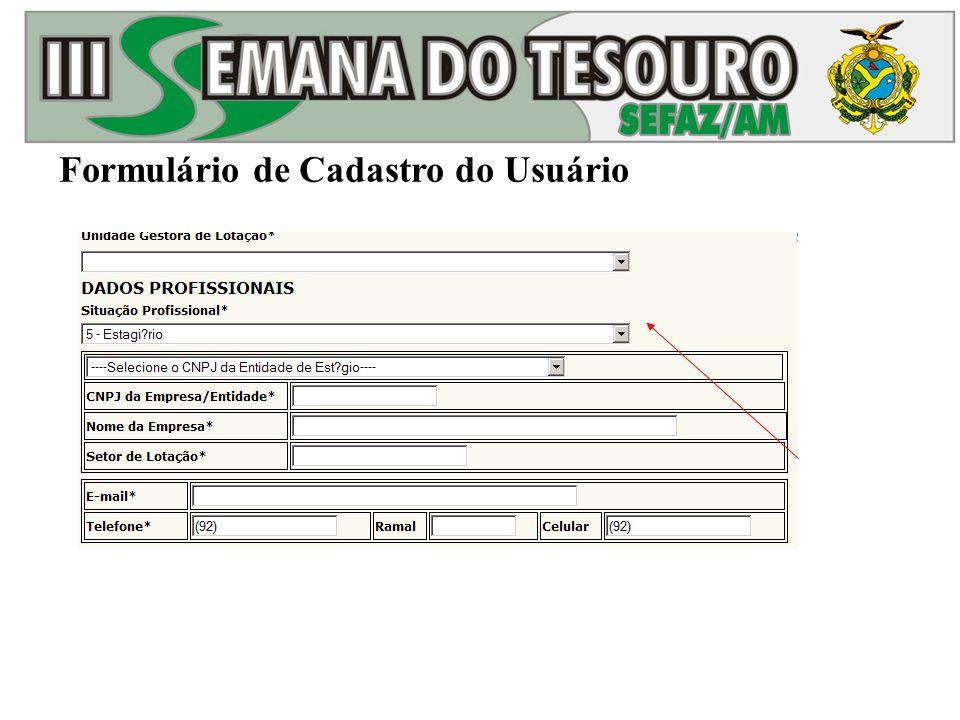 Formulário de Cadastro do Usuário