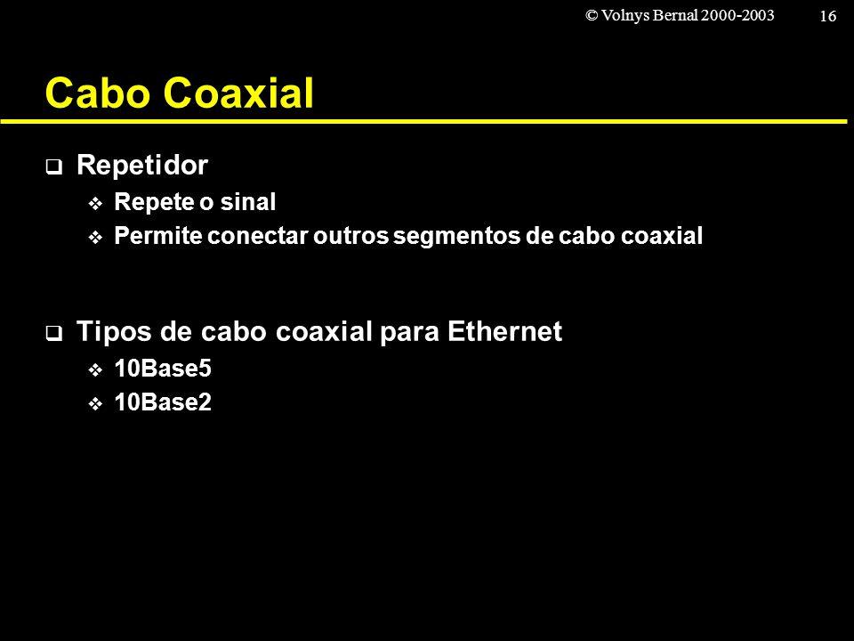 Cabo Coaxial Repetidor Tipos de cabo coaxial para Ethernet