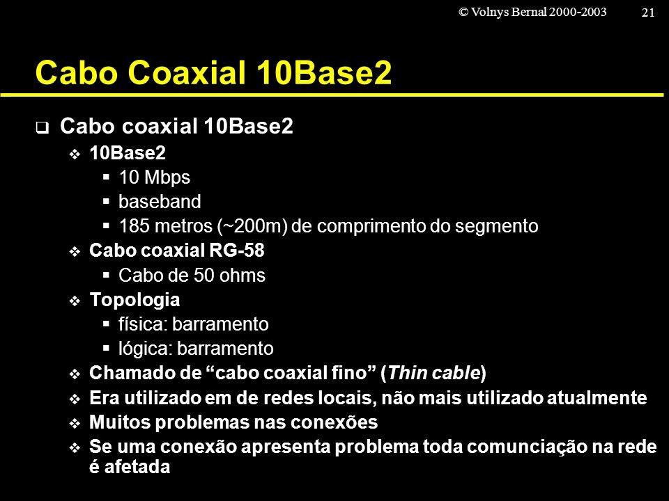 Cabo Coaxial 10Base2 Cabo coaxial 10Base2 10Base2 10 Mbps baseband